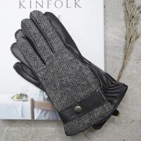 №【2019新款】冬天带的真皮手套单车人字呢质感黑色羊皮手套男加厚