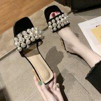 粗跟凉拖鞋女夏季时尚外穿2019新款韩版珍珠中跟露趾一字拖懒人鞋