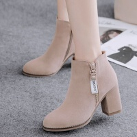 20190923074852557【开胶包退】时装靴女鞋冬女靴高跟鞋裸靴粗跟靴子短靴女春秋单靴