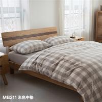 良品水洗棉床上用品四件套 经典中格纹3色 床笠床单款