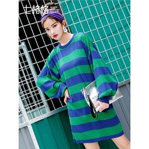 七格格条纹连衣裙秋装女新款韩版灯笼袖宽松显瘦圆领长袖短裙