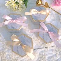 结婚用品 喜糖盒 欧式婚礼喜糖盒六角大理石结婚礼物包装糖果纸盒个性创意婚庆用品 大号