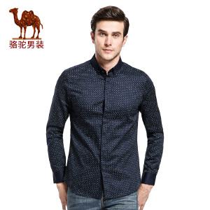 骆驼&熊猫联名系列男装韩版衬衣时尚圆点印花修身纯棉长袖衬衫男