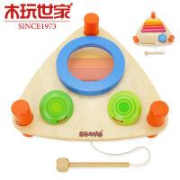 木玩世家比好三角敲打音乐琴台 儿童音乐玩具双面木制鼓锯琴响板