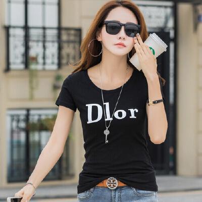 纯棉短袖女T恤夏装新款韩半袖体恤女装夏季修身上衣打底衫WK7088