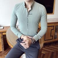 初秋男士长袖衬衫修身夜店条纹字母刺绣寸衫发型师气质中袖衬衣