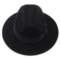 黑色羊毛呢礼帽子男士韩版潮爵士帽春秋上海滩大檐绅士帽复古礼帽