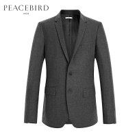 太平鸟男装 休闲羊毛西服男商务便服春季韩版修身灰色西装男外套