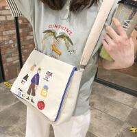帆布包女单肩斜挎两用学生原宿涂鸦复古森系港风布包