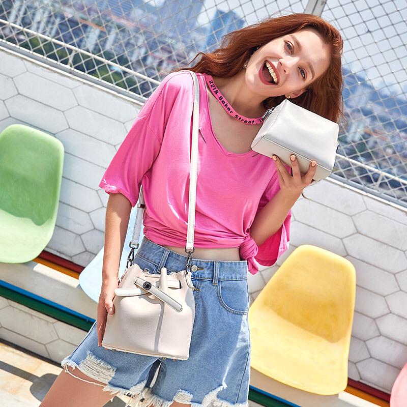 茉蒂菲莉 水桶包女 2019新款韩版时尚子母水桶包潮流单肩斜挎手提包女 韩版时尚
