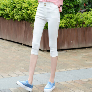 夏高腰黑色打底裤外穿薄款七分夏修身弹力小脚铅笔裤大码女裤