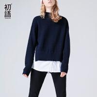 初语2017秋季新款 宽松纯色套头假两件半高领拼接条纹针织衫女