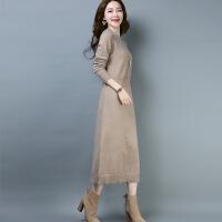 毛衣长裙过膝女秋冬2018新款韩版显瘦打底衫长款大红色针织连衣裙