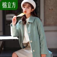 呢子大衣女中长款2018冬季新款棉立方韩版女士秋冬加棉毛呢外套