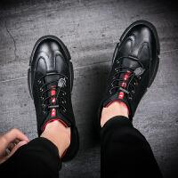 青年皮鞋男士商务休闲皮鞋新款青少年皮鞋英伦平底系带黑色男生驾车防滑皮鞋 黑色