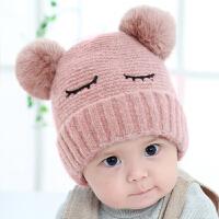 婴儿帽子秋冬0-3-6-12个月新生儿男女儿童毛球宝宝毛线帽