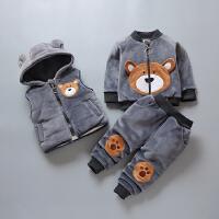 宝宝棉衣套装男童儿童加绒三件套