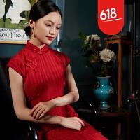 旗袍女夏 中长款 优雅复古连衣裙红色旗袍新娘敬酒服夏季GH151 红色
