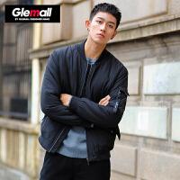 【2件2.2折价87.78元】森马旗下潮牌GLEMALL 冬季加厚黑色短款男士棒球领休闲简约韩版外套