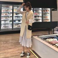 很仙的套装裙秋冬新款韩版洋气连衣裙+背心马甲裙子时尚两件套女