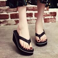 拖鞋女夏海边沙滩鞋高跟厚底凉拖外穿夹脚韩版时尚外出百搭人字拖