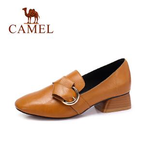 Camel/骆驼女鞋 2017秋季新款 优雅简约粗跟单鞋女方头中跟单鞋