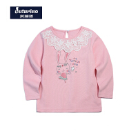 【促】芙瑞诺Futurino童装女童秋装纯棉甜美蕾丝长袖T恤女宝宝打底衫内搭上衣