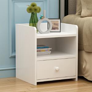 御目 床头柜 现代简约卧室床头柜简易储物柜组装柜边角柜卧室收纳柜子实木色 创意家具