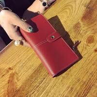 钱包女长款日韩版潮个性时尚搭扣两折女士钱夹简约多功能拉链薄款