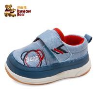 彩虹熊童鞋秋季婴儿布鞋男女机能鞋0-3-6个月-1岁宝宝软底学步鞋