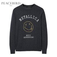 太平鸟男装 男士新款灰色刺绣圆领毛套衫B2EB71264