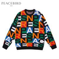 太平鸟男装冬季新款字母格子嘻哈拼搭毛衫韩版个性时尚毛衣保暖潮
