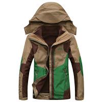 15C232冬装新款豹迹可脱卸内胆女士冲锋外套 户外登山防寒衣