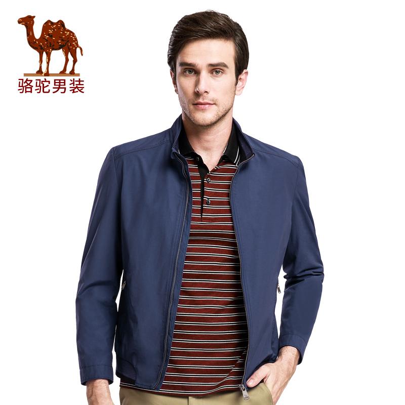 骆驼男装 新款时尚立领散口袖纯色夹克衫商务休闲外套男