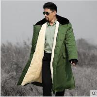 军大长款保安大衣劳保防寒服衣棉大衣男加厚棉服抓绒大衣