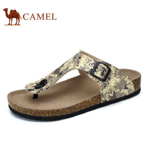 camel骆驼男鞋  夏季新品 迷彩时尚休闲夹脚清凉沙滩拖鞋