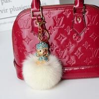 包包挂件挂饰韩国创意饰品女带钻小熊公仔毛绒流行可爱汽车钥匙扣