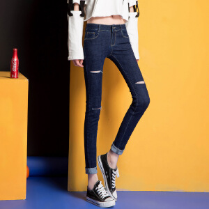 Modern idea2017春款潮流破洞牛仔裤女式小脚裤修身韩版显瘦
