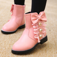 女童靴子秋冬棉靴2017新款加绒短靴韩版公主鞋中大童马丁靴儿童鞋