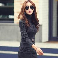 高领保暖内衣女加绒加厚2018冬季新款韩版紧身美体银丝上衣打底衫