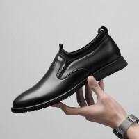 男鞋春季新款真皮商务通勤休闲皮鞋男英伦时尚夏季透气商务皮鞋