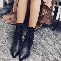 【原版】新款马丁靴女加绒冬英伦粗跟尖头平底短靴中筒女靴子 黑色 高品质