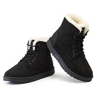 2019新款秋冬季加绒加厚雪地靴棉鞋短靴女鞋学生女士马丁靴保暖鞋 黑色 36
