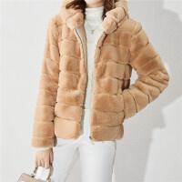 皮草外套女秋冬新款水晶绒女外套毛绒连帽气质纯色短款厚外套