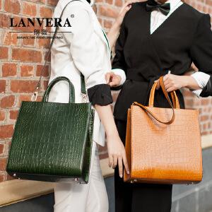【支持礼品卡】LANVERA 欧美真皮女包手提包 2017夏季新款包包简约压纹牛皮托特包 L2018