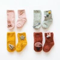 珈楚秋冬新款羽毛纱加厚婴儿袜子 立体卡通宝宝袜子儿童中筒0-1-3岁