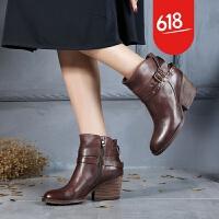 原创秋冬款原创手工真皮女鞋欧美时尚女靴高跟粗跟舒适马丁靴GH025 卡其色