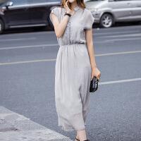 魅儿女装雪纺长裙女夏2018韩版假两件仿 灰色连衣长裙海边沙滩长裙GH160 浅灰色