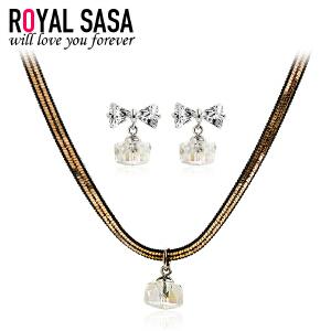 皇家莎莎项链耳饰套装 仿水晶蝴蝶结耳钉颈链锁骨链简约个性款