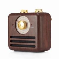 复古胡桃木质蓝牙小音箱创意便携小音响户外老人收音机迷你 仿木